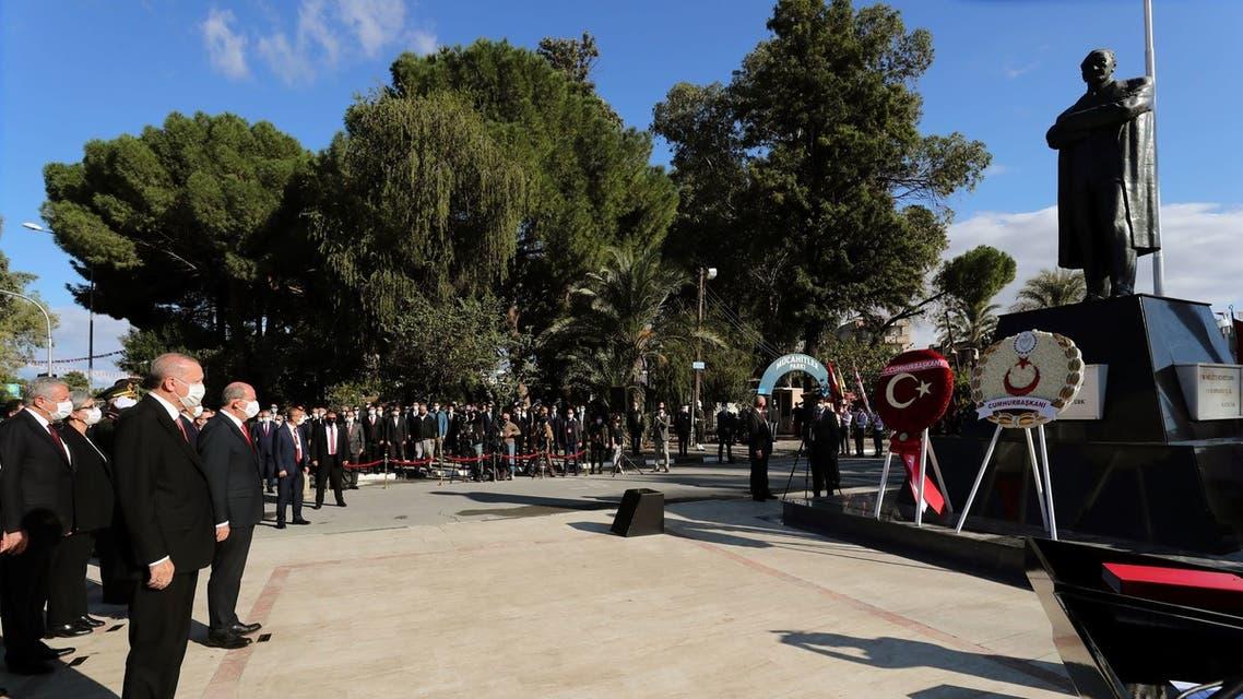 أردوغان خلال زيارته قبرص
