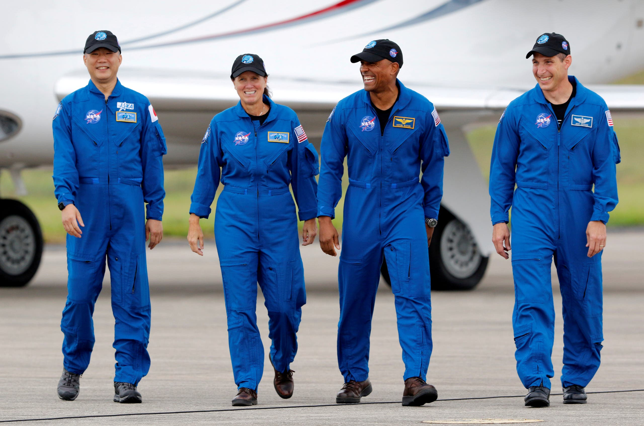 NASA astronauts Shannon Walker, Victor Glover, Mike Hopkins, and JAXA (Japan Aerospace Exploration Agency) astronaut Soichi Noguchi, who comprise Crew-1, walk at Kennedy Space Center ahead of the NASA/SpaceX launch of the first operational commercial crew mission in Cape Canaveral, Florida, U.S., November 8, 2020. (File phote: Reuters)