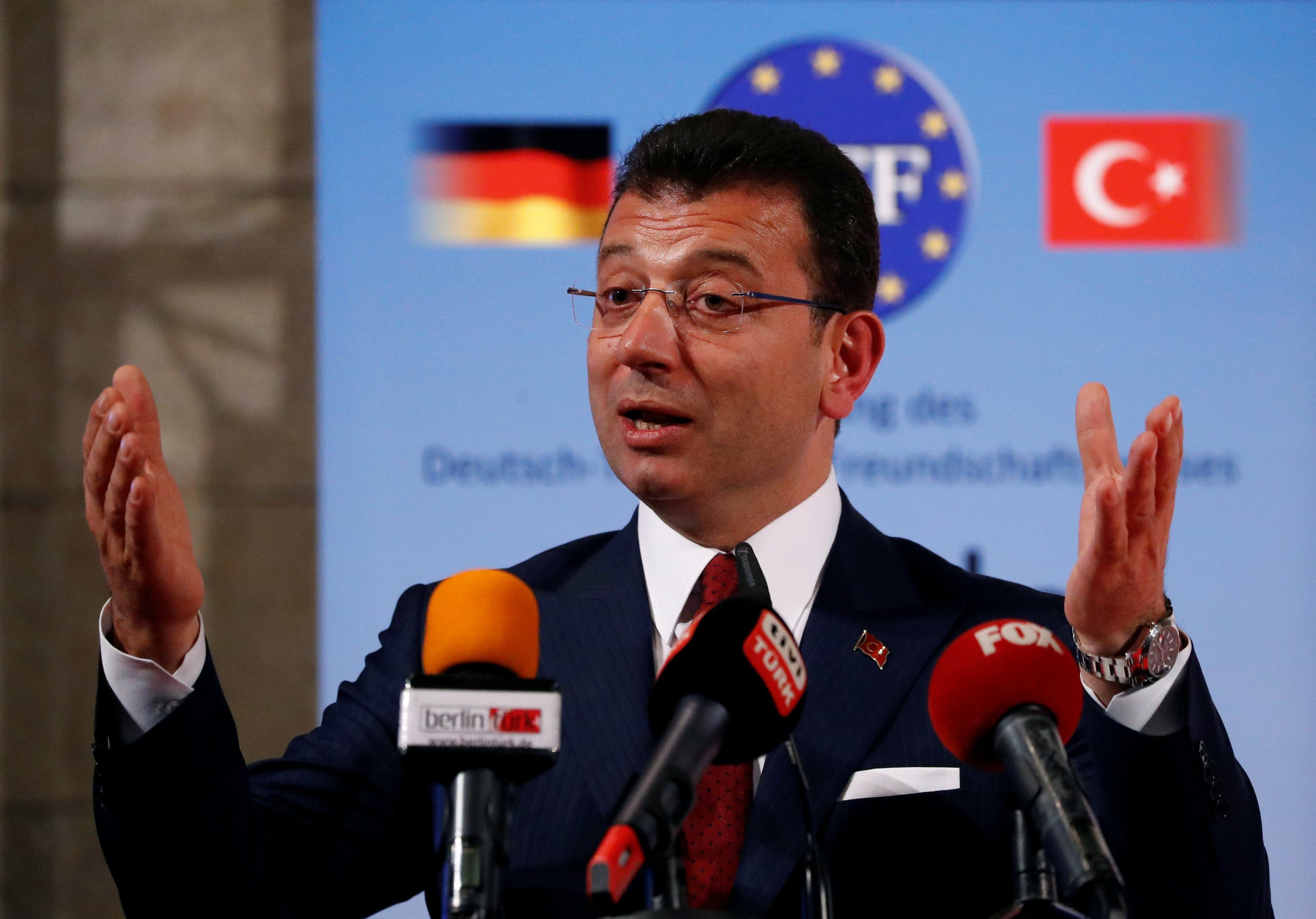 A file photo shows Istanbul Mayor Ekrem Imamoglu speaks after being awarded with the German-Turkish Friendship Award 'Kybele 2019' in Berlin, Germany, November 8, 2019. (Reuters)
