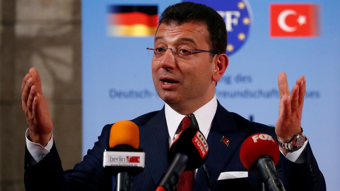 Istanbul Mayor Ekrem Imamoglu speaks after being awarded with the German-Turkish Friendship Award 'Kybele 2019' in Berlin, Germany, November 8, 2019. REUTERS/Fabrizio Bensch