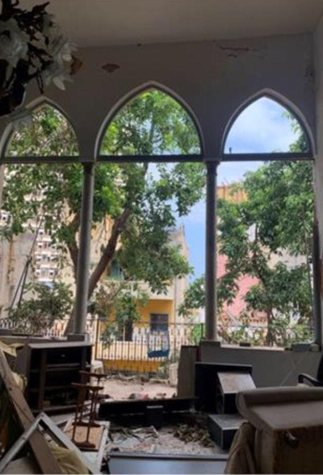 Reina Sarkis' home in Beirut is shown after the Aug. 4 explosion in Lebanon's capital. (Photo courtesy of Reina Sarkis)
