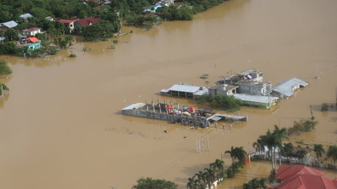 Buildings are flooded in the aftermath of Typhoon Vamco, in the Cagayan Valley region. (Reuters)