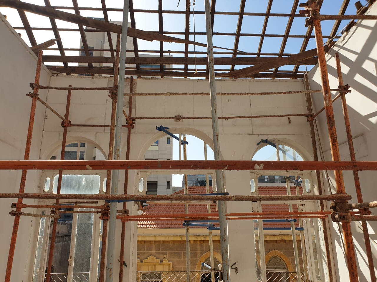 Scaffolding is shown in a Beirut heritage home that was destroyed in the Beirut Aug. 4 port explosion. (Supplied.)