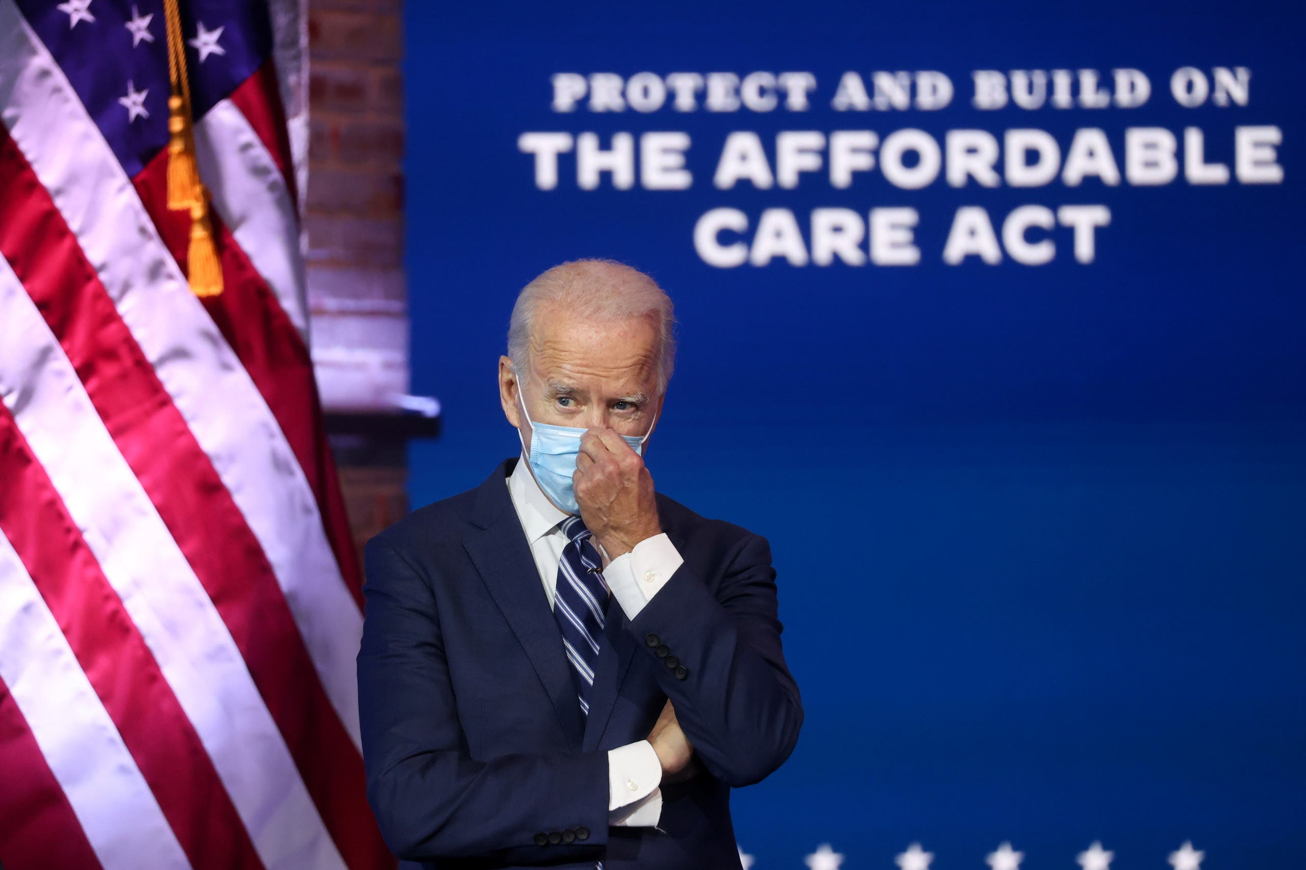 U.S. President-elect Joe Biden discusses protecting the Affordable Care Act (ACA) as he speaks to reporters during a news conference in Wilmington, Delaware, U.S., November 10, 2020. (Reuters)