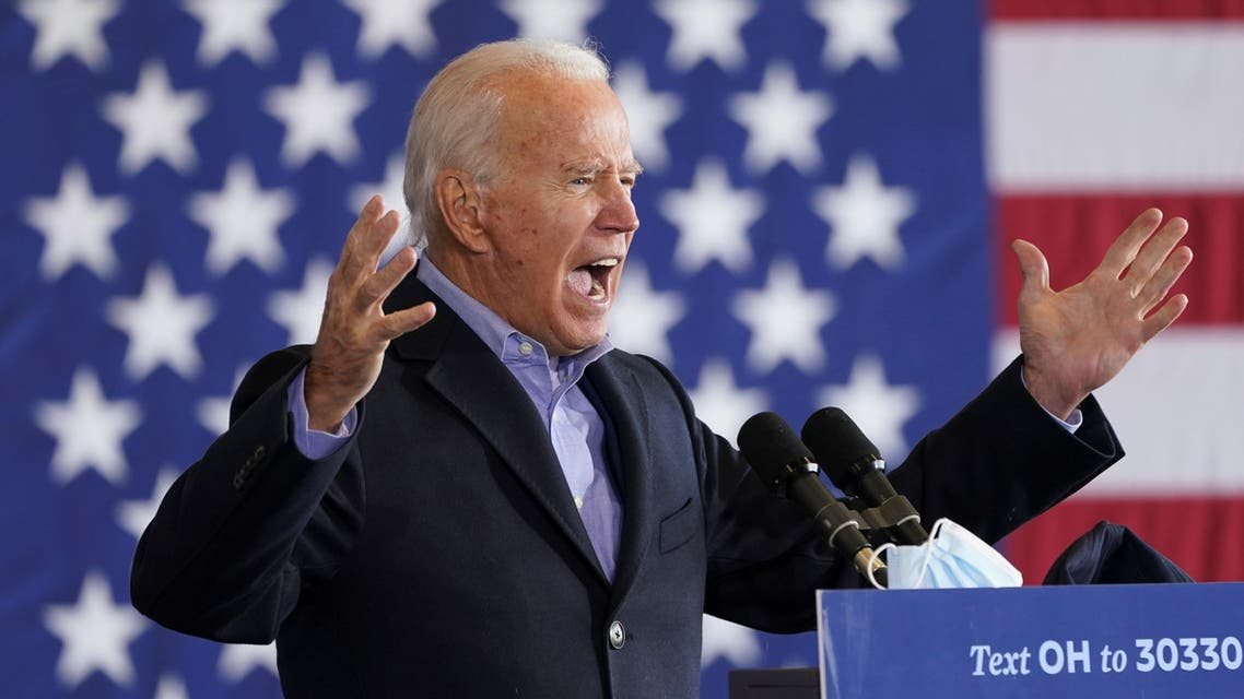 Democratic U.S. presidential nominee and former Vice President Joe Biden speaks at the Get Out The Vote event in Cleveland, Ohio, U.S., November 2, 2020. REUTERS/Kevin Lamarque