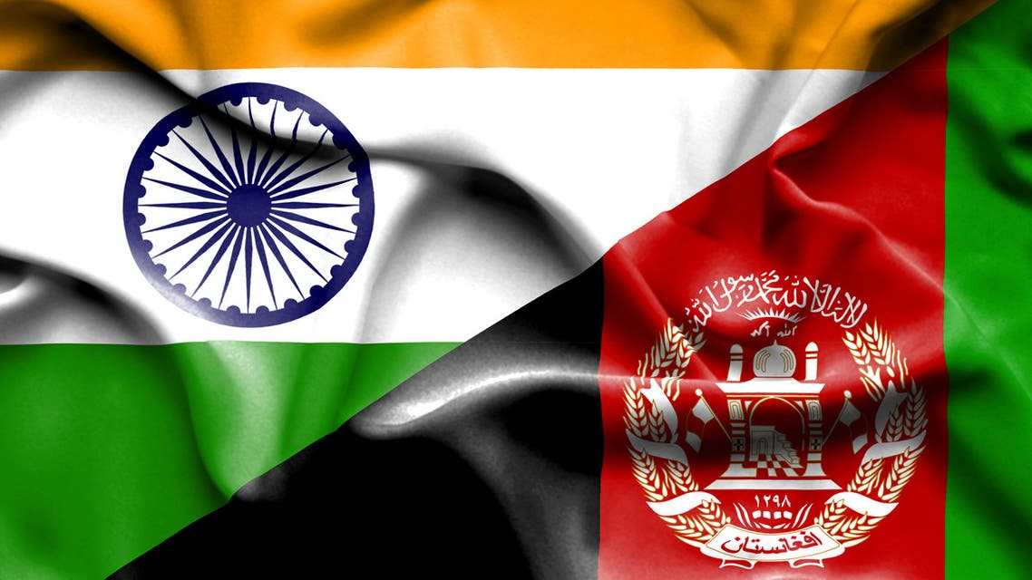 Waving flag of Afghanistan and India stock illustration