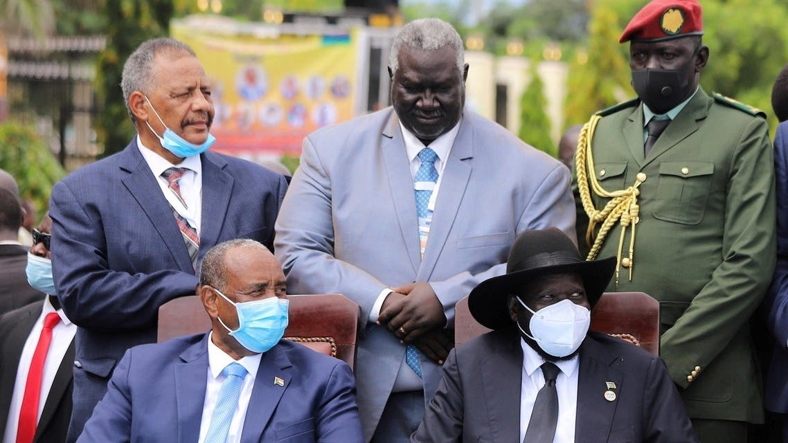 Sudan's Sovereign Council Chief General Abdel Fattah al-Burhan, and South Sudan's President Salva Kiir attend the signing of peace agreement between the Sudan's transitional government and Sudanese revolutionary movements to end decades-old conflict, in Juba, South Sudan October 3, 2020. (Reuters/Samir Bol)