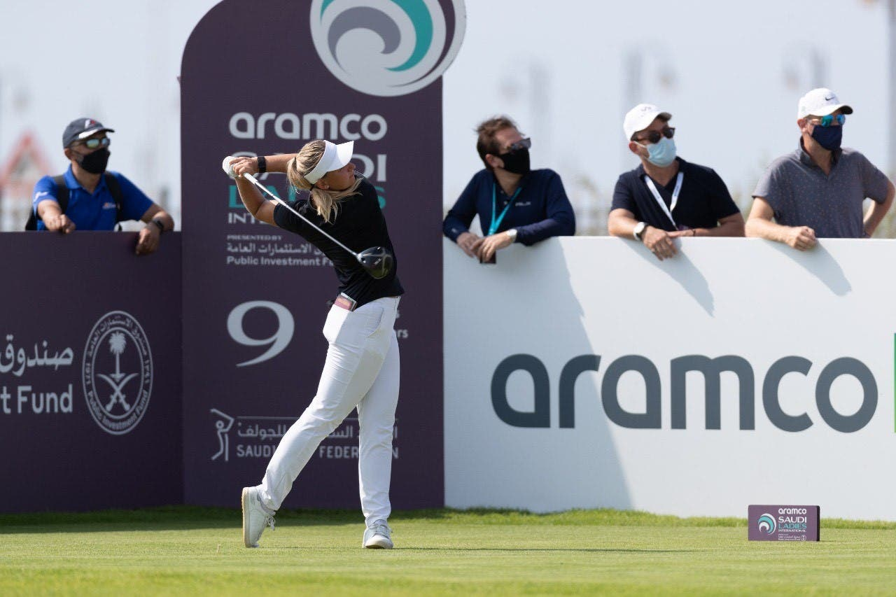 Emily Kristine Pedersen from Denmark, the winner of the Aramco Saudi Ladies International Golf Tournament, in King Abdullah Economic City, Saudi Arabia. (Courtesy: Aramco)