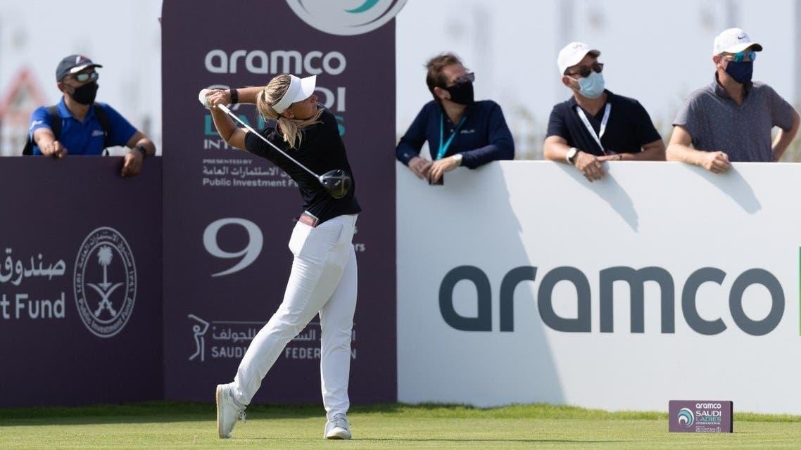 Emily Kristine Pedersen from Denmark, the winner of the Aramco Saudi Ladies International Golf Tournament, in King Abdullah Economic City, Saudi Arabia. (Courtesy: Aramco)