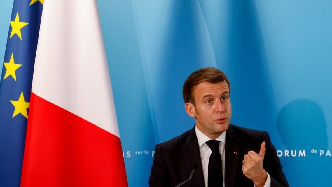 French President Emmanuel Macron gestures as he speaks during The Paris Peace Forum at The Elysee Palace in Paris on November 12, 2020. (AFP)