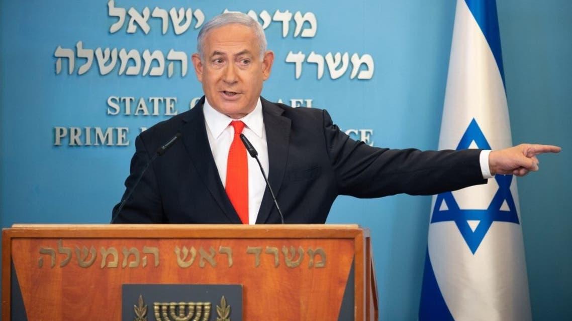 Israeli Prime Minister Benjamin Netanyahu gives a briefing on coronavirus developments in Israel at his office in Jerusalem, on September 13, 2020. (AFP)