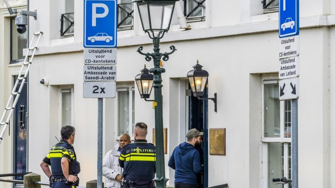 Police investigate outside the Embassy of Saudi Arabia in The Hague, after it has been shot at on November 12, 2020. (AFP)