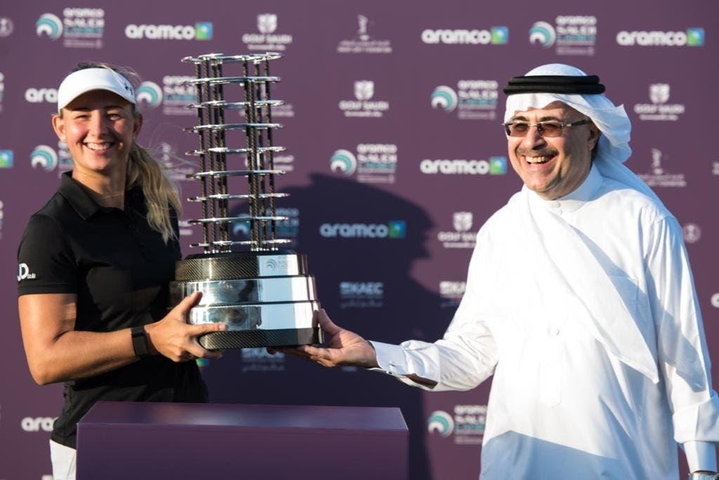 Aramco's President & CEO Mr. Amin Nasser presented the tournament award to the winner Emily Kristine Pedersen from Denmark. (Courtesy: Aramco)