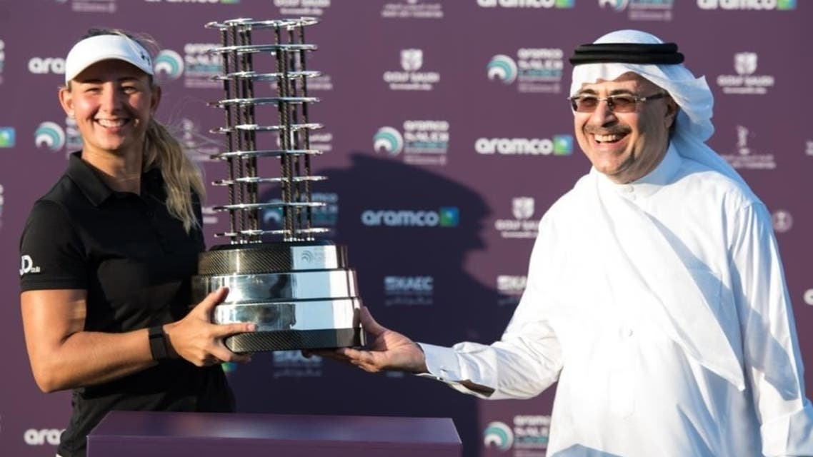 Aramco's President & CEO Mr. Amin Nasser presented the tournament award to the winner Emily Kristine Pedersen from Denmark. (Courtesy: Aramco)