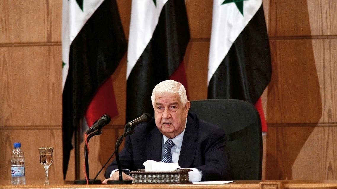Syrian Foreign Minister Walid al-Moallem speaks during a news conference, in Damascus, Syria, June 23, 2020. (AP)