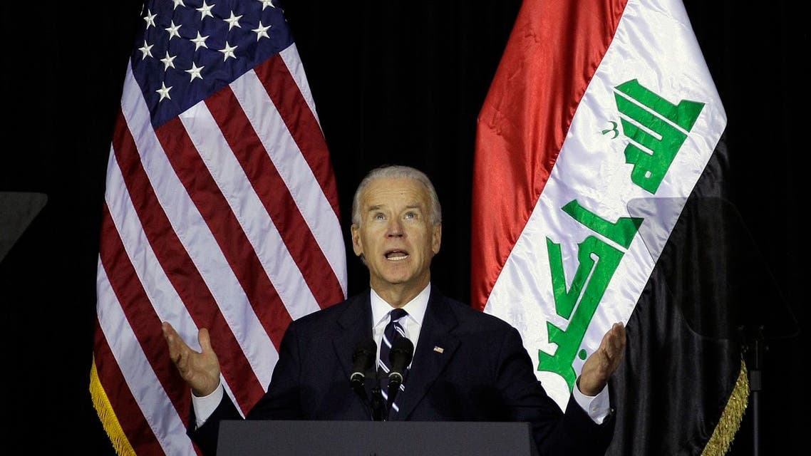US Vice President Joe Biden speaks during one of several planned ceremonies to mark the end of American military presence in Iraq, in Baghdad December 1, 2011. (Reuters)
