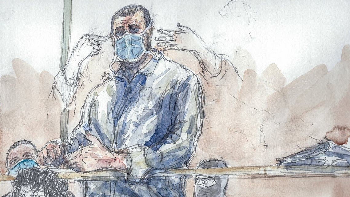 A file court sketch created on October 26, 2020 shows Ali Riza Polat, who is believed to have been the right-hand man of Amedy Coulibaly, who killed a police officer in January 2015. (Benoit Peyrucq/AFP)