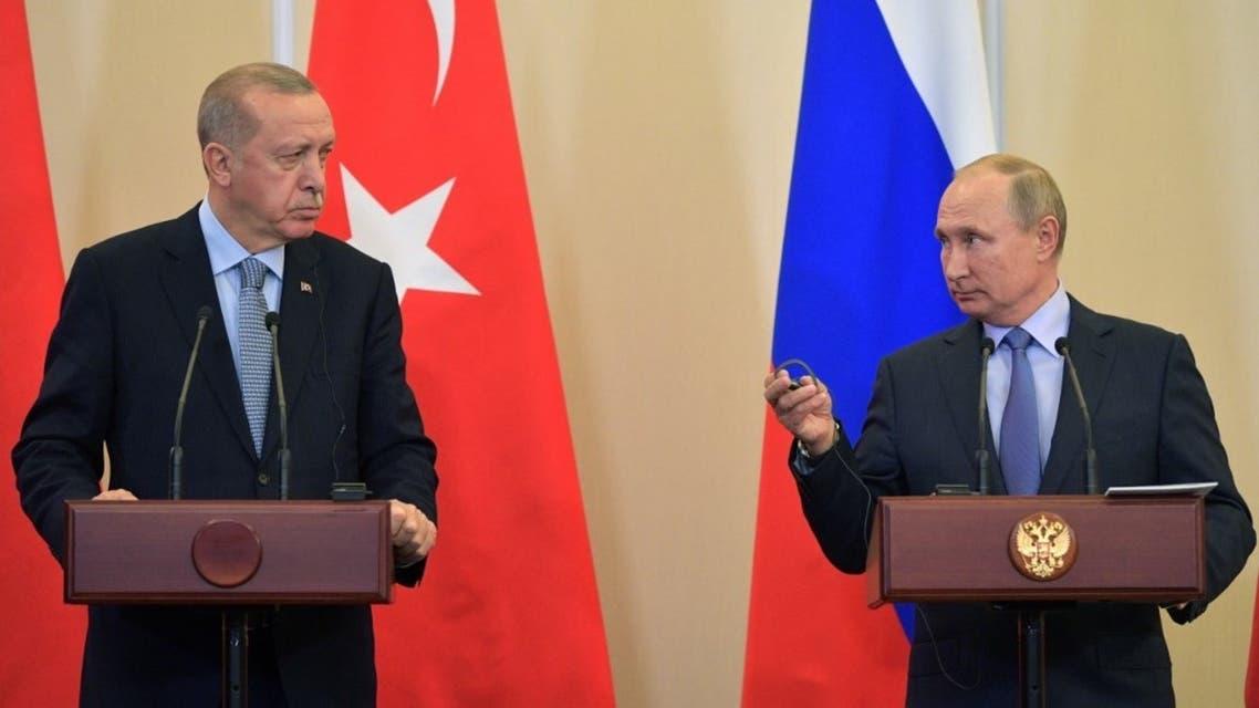 Russian President Vladimir Putin (R) and his Turkish counterpart Recep Tayyip Erdogan in the Black sea resort of Sochi on October 22, 2019. (AFP)