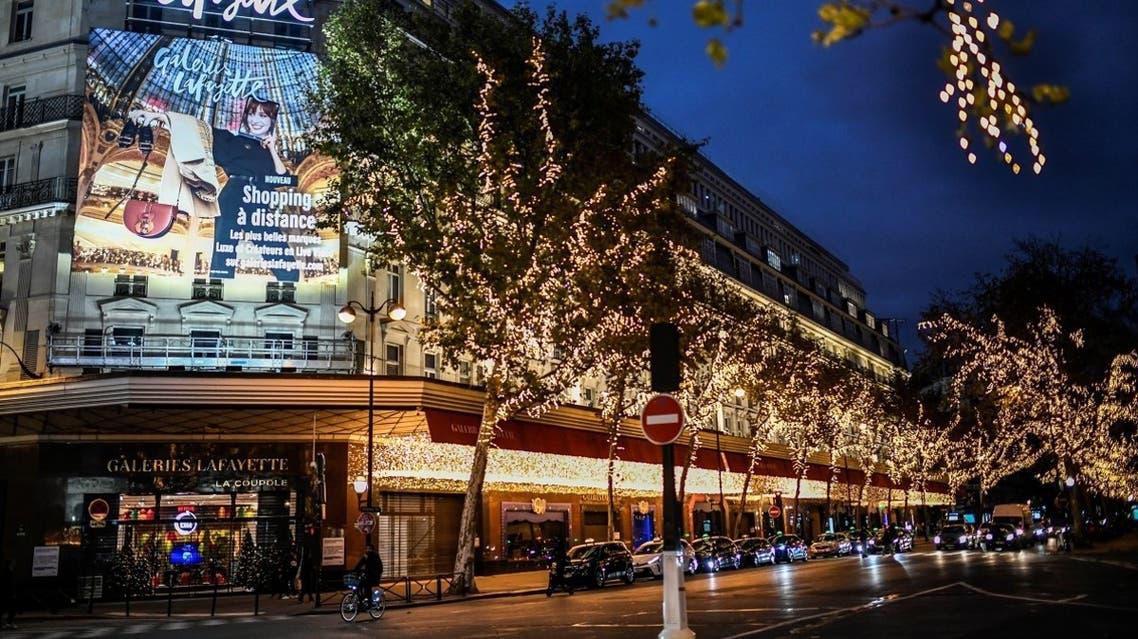 A photograph taken on November 17, 2020 shows the Galeries Lafayette Haussmann store in Paris. (Stephane De Sakutin/AFP)