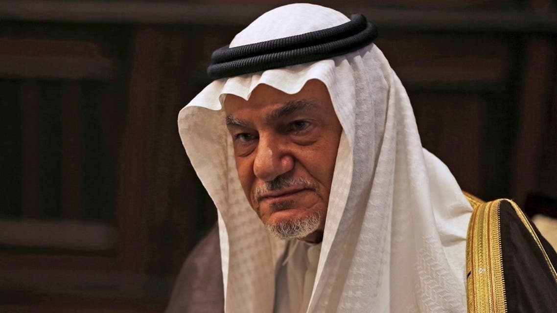 In this Nov. 24, 2018, file photo, Saudi Arabia's Prince Turki Al-Faisal talks to the Associated Press in Abu Dhabi, United Arab Emirates. (AP)