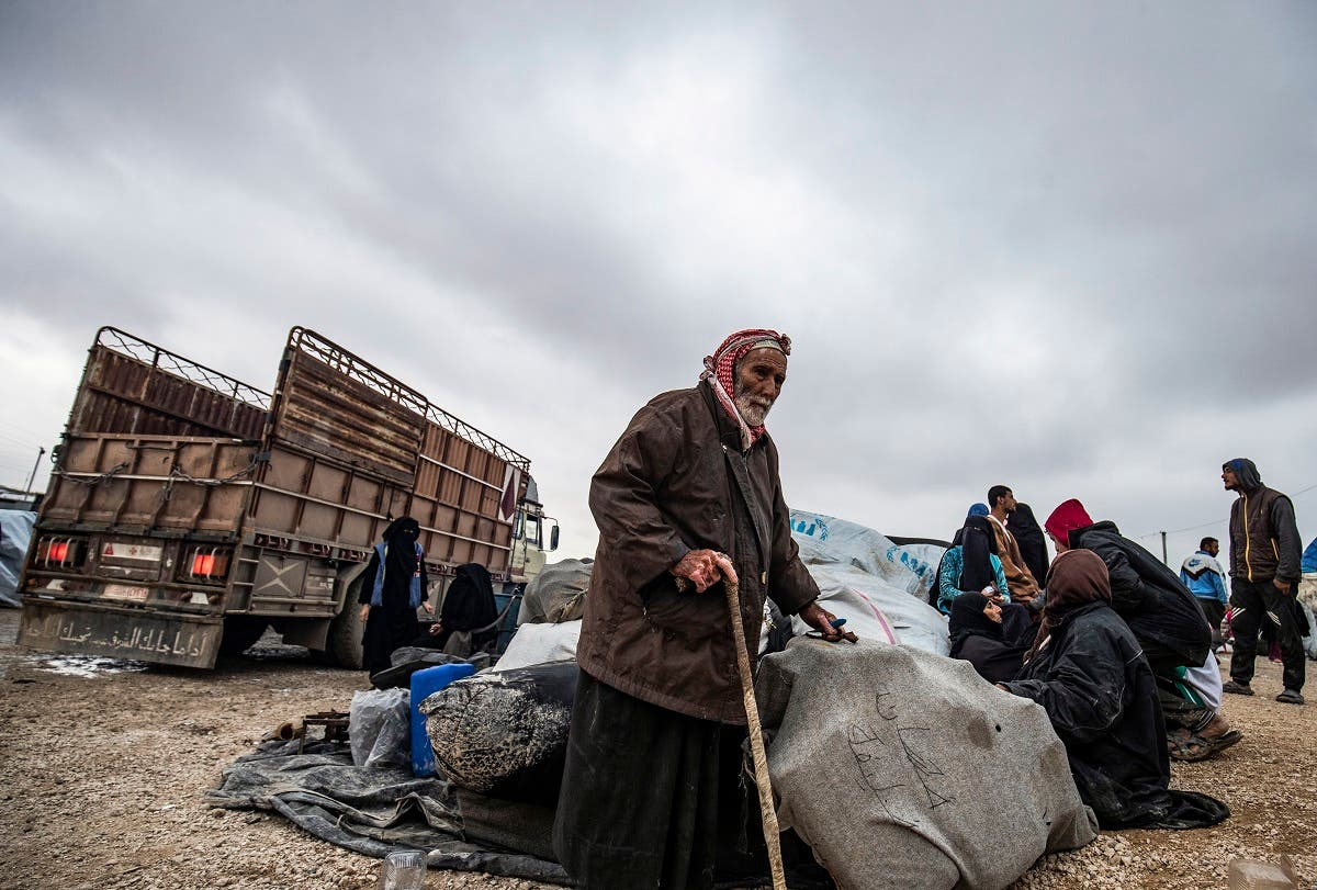 Syrians get ready to leave the Kurdish-run al-Hol camp holding relatives of alleged ISIS group fighters, in the al-Hasakeh governorate in northeastern Syria, on November 16, 2020. (Delil Souleiman/AFP)