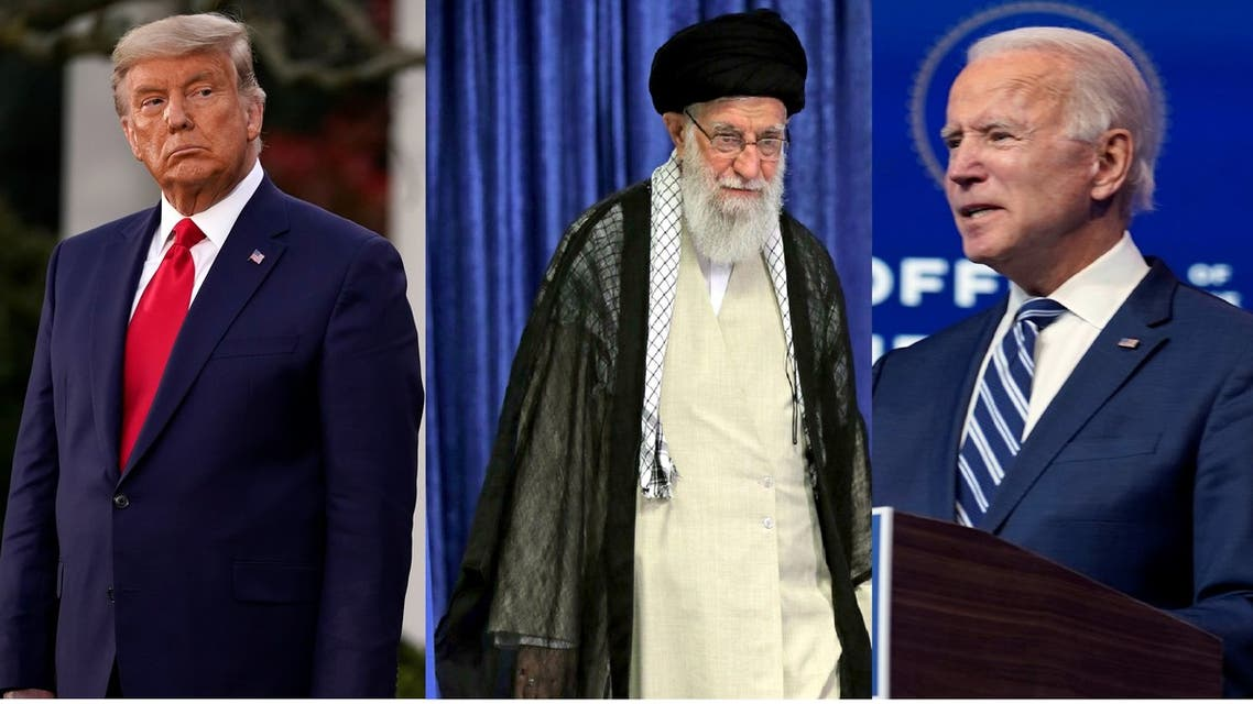 US President Donald Trump, left, Iran Supreme Leader Ali Khamenei, center, and US President-elect Joe Biden, right. (AP)
