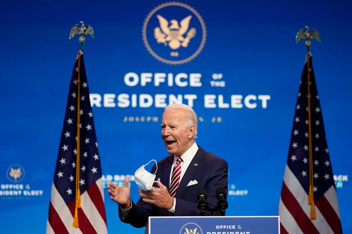 President-elect Joe Biden speaks about economic recovery on Nov. 16, 2020, in Wilmington, Del. (AP)