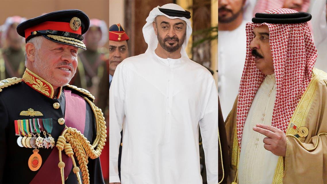 Jordan's King Abdullah II, left, Abu Dhabi Crown Prince Sheikh Mohamed bin Zayed Al Nahyan, center, and Bahrain's King Hamad bin Isa Al Khalifa. (AP)