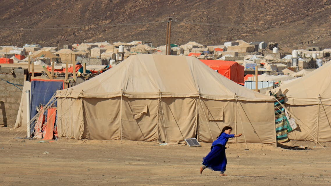 A girl plays at a camp for internally displaced people (IDPs) in Marib, Yemen October 2, 2020. REUTERS/Ali Owidha