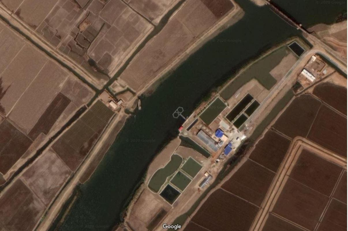 صورة جوية لموقع تدريب دلافين بكوريا الشمالية