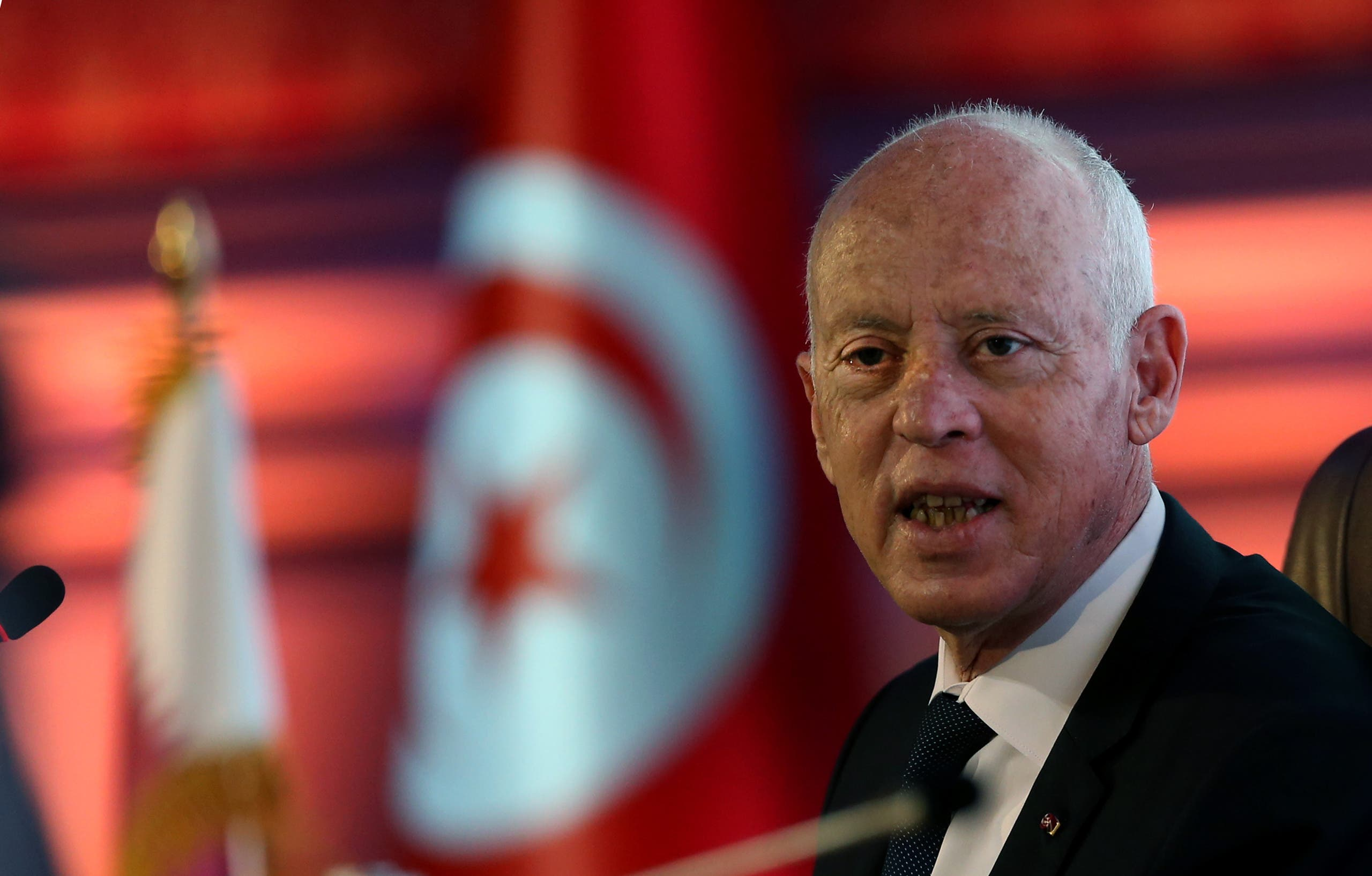 Tunisian President Kais Saied attends a talk on constitutional law during a state visit to Qatar at an event hosted by Lusail University, on November 16, 2020. (File photo: AFP)