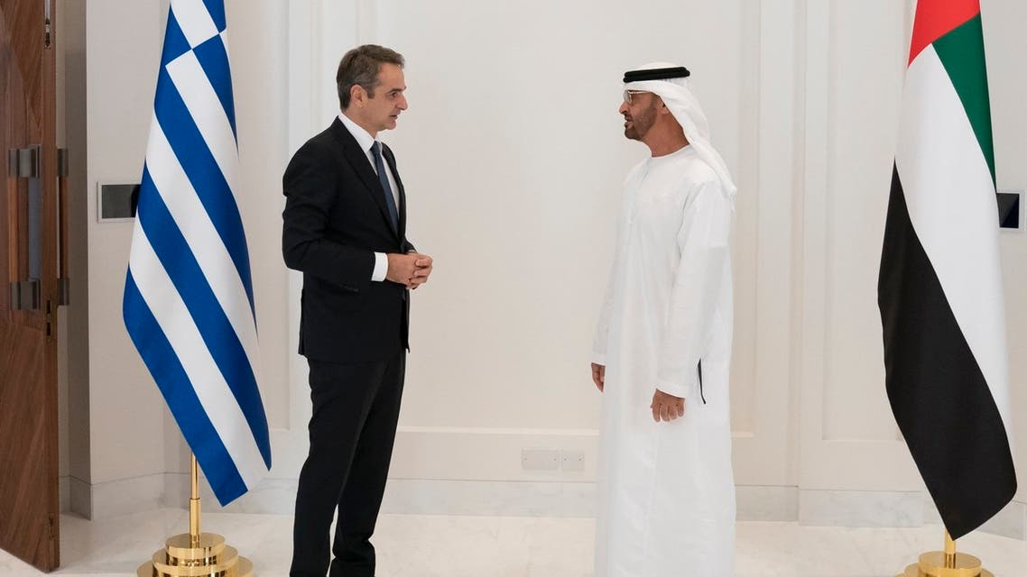 Greek Prime Minister Kyriakos Mitsotakis, left, with Abu Dhabi Crown Prince Mohamed bin Zayed Al Nahyan, right. (Twitter)