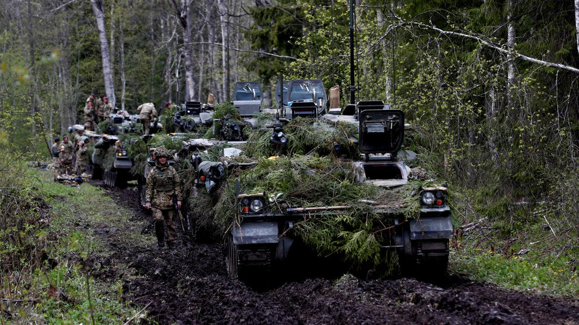 British army armoured vehicles Warrior are seen during a break at the Spring Storm military drill near Sillamae, Estonia May 7, 2019. REUTERS/Ints Kalnins