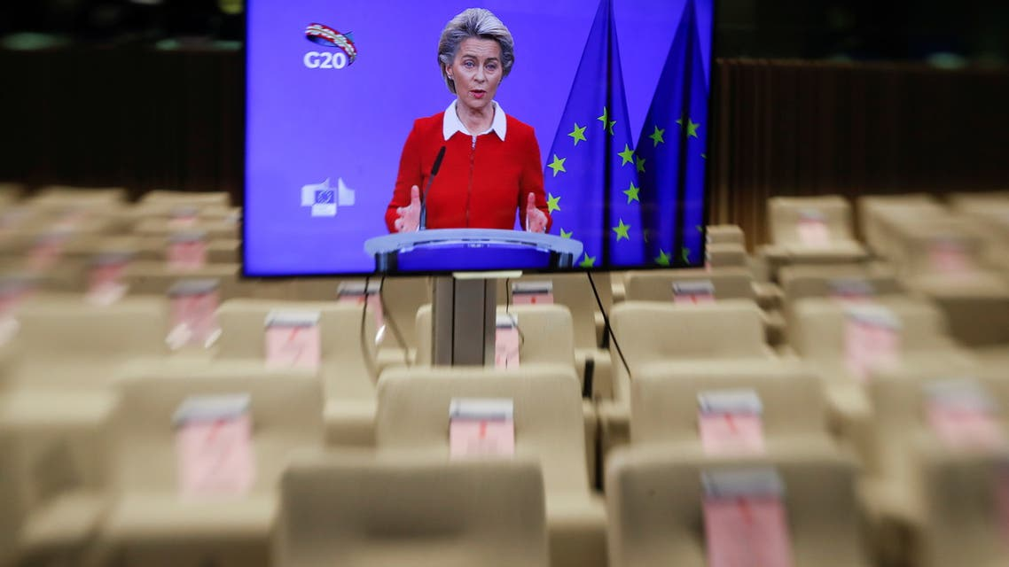 A tilt-shift picture of European Commission President Ursula Von Der Leyen (online) during a news briefing ahead of G20 meeting in Saudi Arabia, in Brussels, Belgium November 20, 2020. Olivier Hoslet/Pool via REUTERS