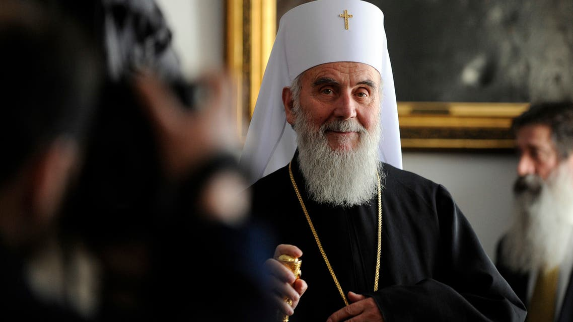 Newly elected Patriarch of the Serbian Orthodox Church Irinej holds his first official press conference in Belgrade on January 28, 2010.  (AFP)