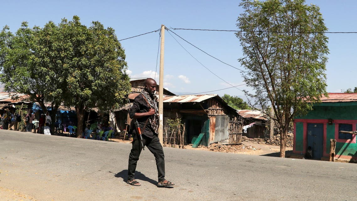 A member of the Amhara Special Force patrols a street in Soroka village in Amhara region near a border with Tigray, Ethiopia November 9, 2020. REUTERS/Tiksa Negeri