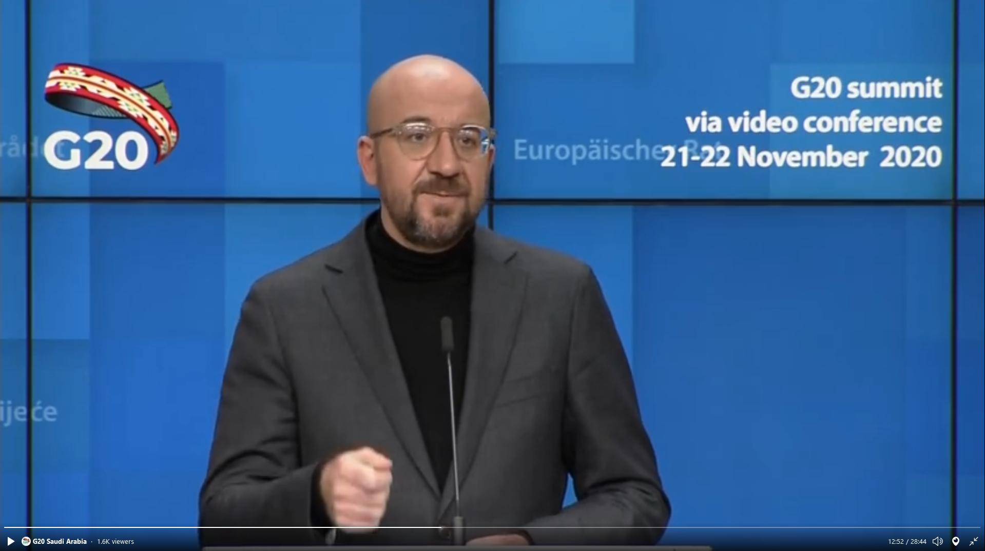 European Council President Charles Michel. (Screengrab)