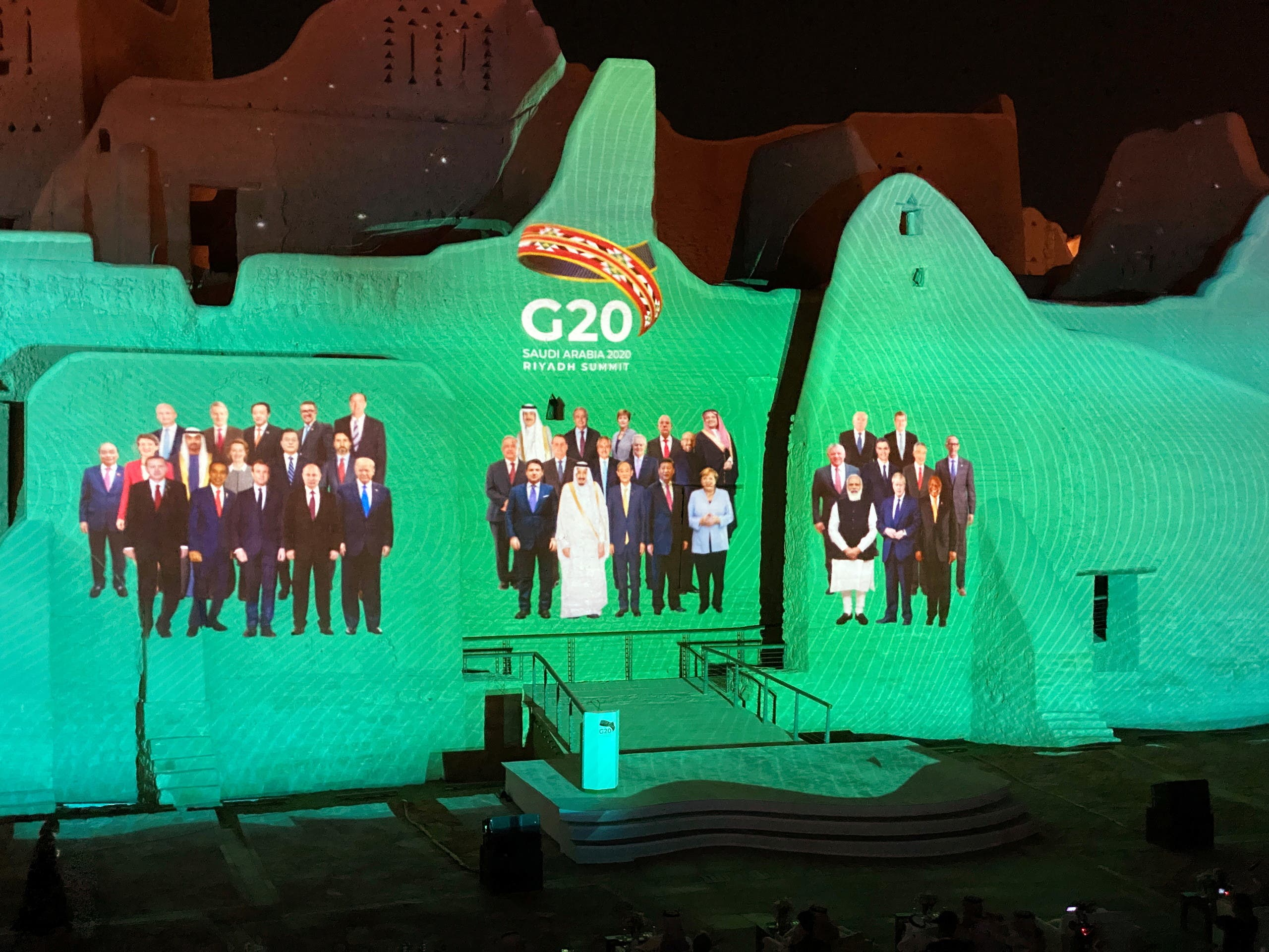 Family Photo for annual G20 Summit World Leaders is projected onto Salwa Palace in At-Turaif, one of Saudi Arabia?s UNESCO World Heritage sites, in Diriyah, Saudi Arabia, November 20, 2020. (Reuters)