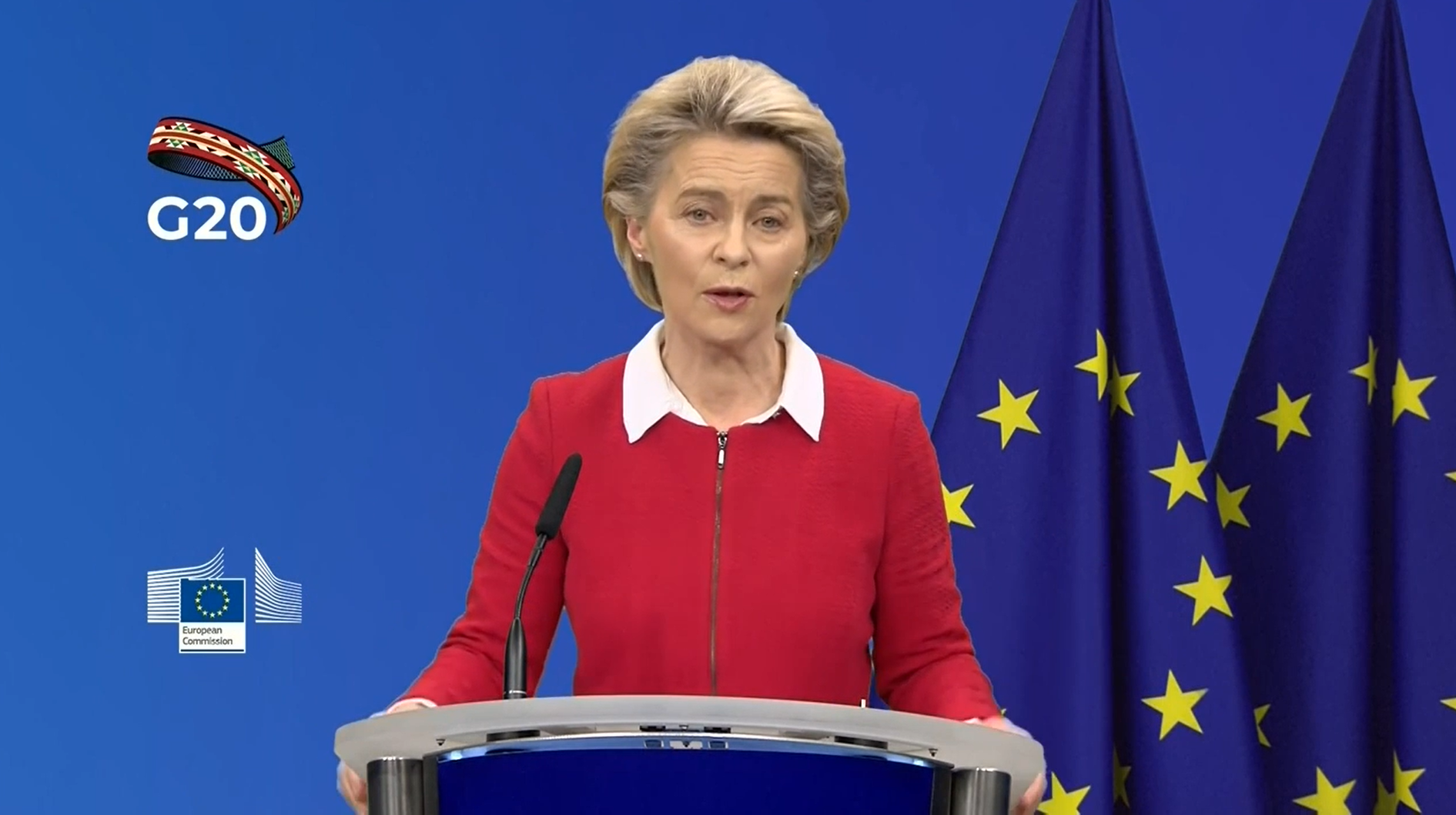Ursula von der Leyen at the G20 Press Briefing on November 20, 2020. (Screengrab)