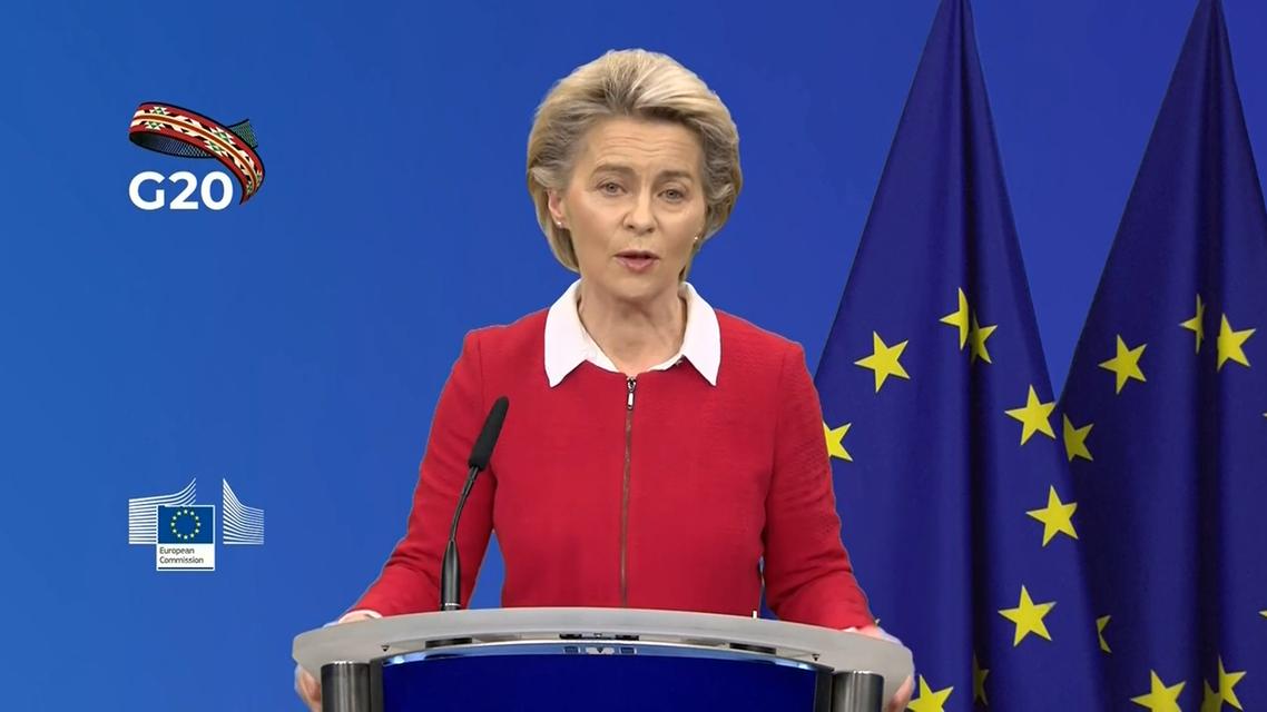 Ursula von der Leyen at the G20 Press Briefing on November 20, 2020. (Screengrab)