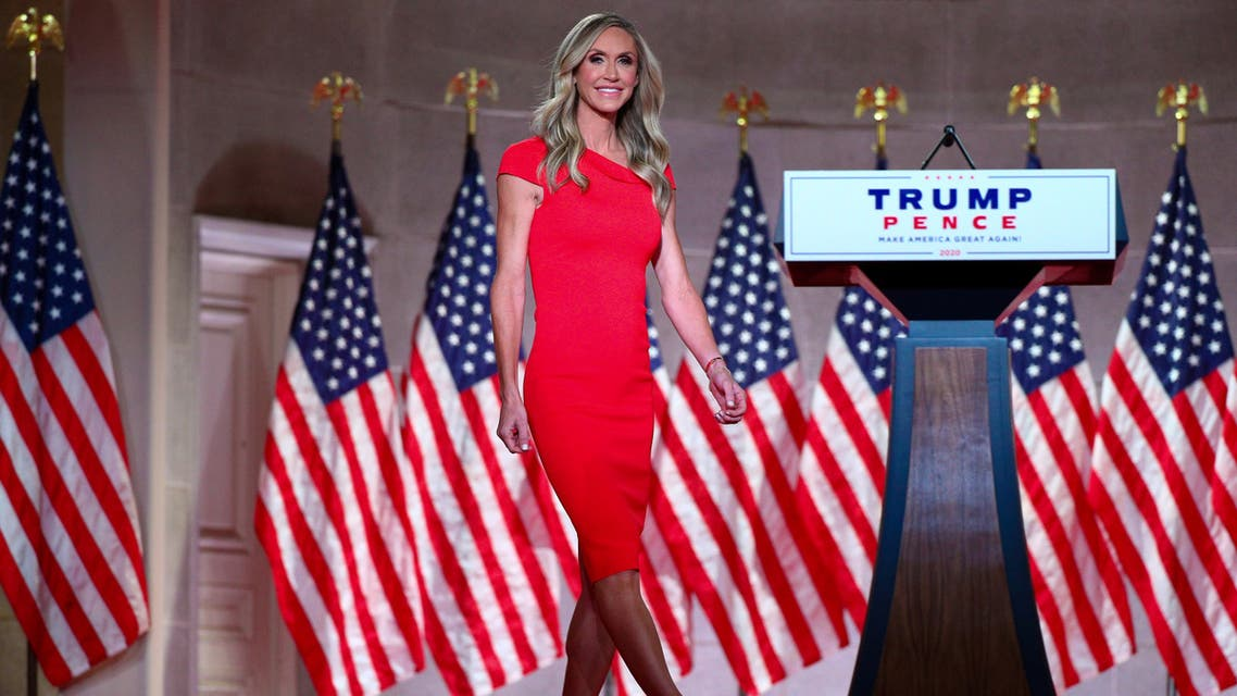 Lara Trump, an adviser to the Trump re-election campaign and wife of the president's son Eric, walks on stage to deliver a pre-recorded address to the largely virtual 2020 Republican National Convention from the Mellon Auditorium in Washington, U.S., August 26, 2020. REUTERS/Tom Brenner TPX IMAGES OF THE DAY