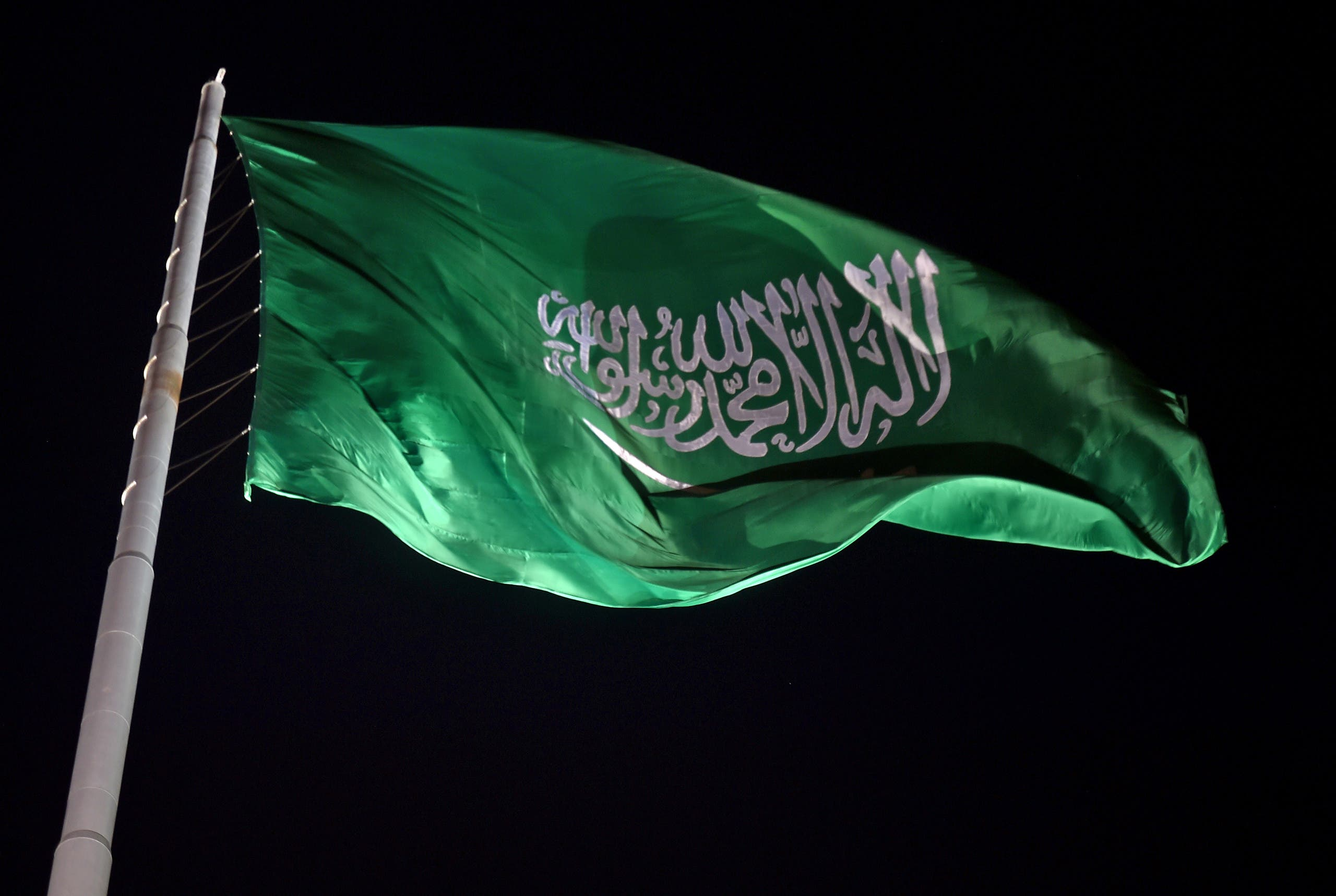 The Saudi national flag flutters at the historical site of al-Tarif in Diriyah district, on the outskirts of Saudi capital Riyadh, on November 20, 2020.