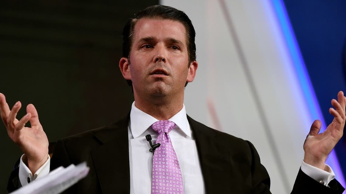 Donald Trump Jr., executive vice president of The Trump Organization, speaks during the Global Business Summit in New Delhi on Feb. 23, 2018. (AFP)