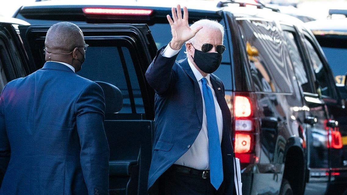President-elect Joe Biden waves as he arrives The Queen theater for a meeting with Vice President-elect Kamala Harris, Senate Minority Leader Chuck Schumer and House Speaker Nancy Pelosi, Nov. 20, 2020.. (AP)