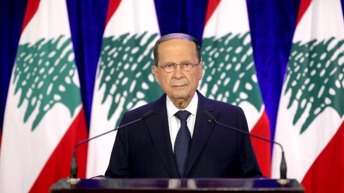 A handout picture provided by the Lebanese photo agency Dalati and Nohra on November 21, 2020, shows President Michel Aoun delivering a televised address. (AFP)
