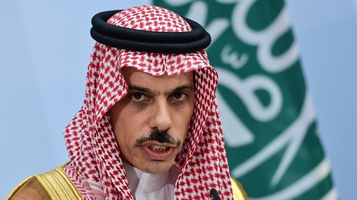 Saudi Foreign Minister Prince Faisal bin Farhan Al-Saud attends a joint press conference with the German Foreign Minister in Berlin, on August 19, 2020. (AFP)