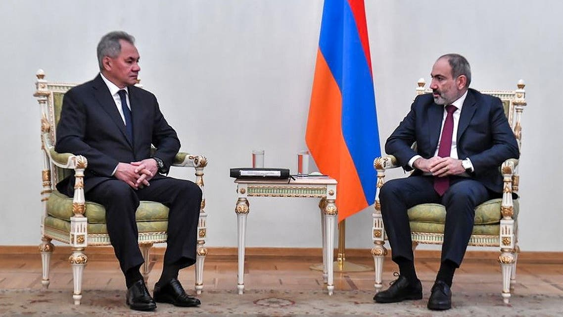 Armenian Prime Minister Nikol Pashinyan (R) meeting with Russian Defense Minister Sergei Shoigu in Yerevan on November 21, 2020. (Armenia's Government press service/AFP)