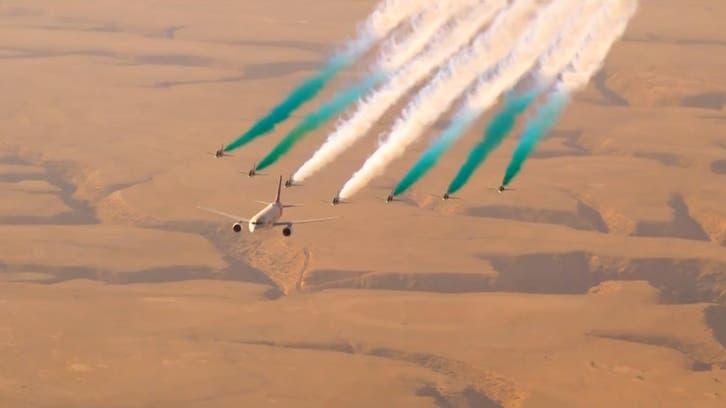Saudi Arabian Hawks, Saudia planes fly over Riyadh to mark G20 summit