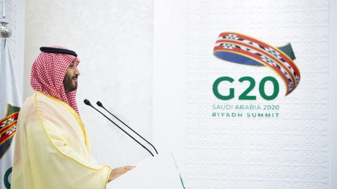 Crown Prince Mohammed bin Salman bin Abdulaziz chairing the final session of the second day of the G20 Riyadh Summit. (g20riyadhsummit.org)
