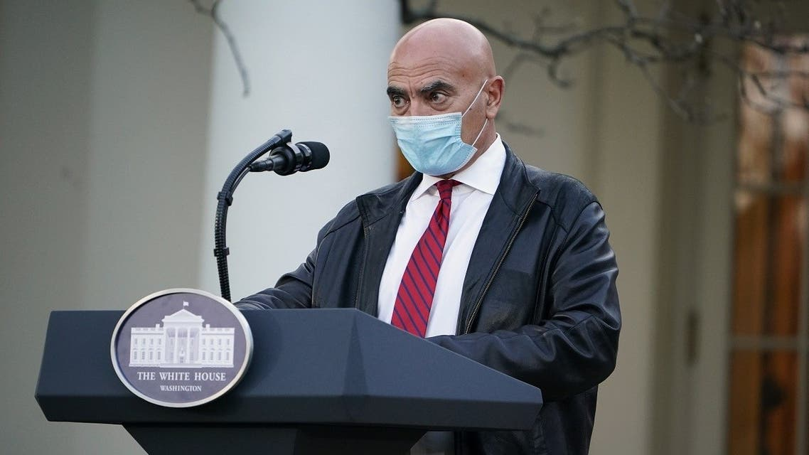 """Dr. Moncef Slaoui, vaccine expert, delivers an update on """"Operation Warp Speed"""" in the Rose Garden of the White House in Washington, DC on November 13, 2020. (Mandel Ngan/AFP)"""